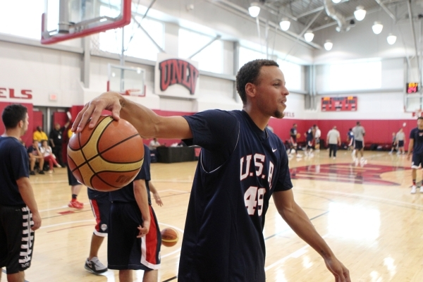 USA Basketball Men's National Team player Stephen Curry takes the court during a mini-camp practice at the Mendenhall Center on the UNLV campus in Las Vegas Tuesday, August 11, 2015. ERIK VE ...