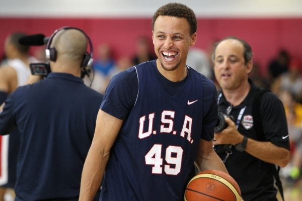 USA Basketball Men's National Team player Stephen Curry laughs during a mini-camp practice at the Mendenhall Center on the UNLV campus in Las Vegas Tuesday, August 11, 2015. ERIK VERDUZCO/LA ...