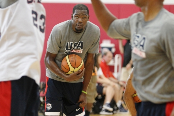 USA Basketball Men's National Team player Kevin Durant stands on the court during a mini-camp practice at the Mendenhall Center on the UNLV campus in Las Vegas Tuesday, August 11, 2015. ERIK VER ...