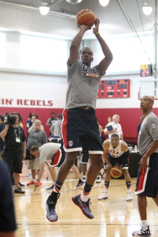 USA Basketball Men's National Team player Kevin Durant takes a shot during a mini-camp practice at the Mendenhall Center on the UNLV campus in Las Vegas Tuesday, August 11, 2015. ERIK VERDUZ ...