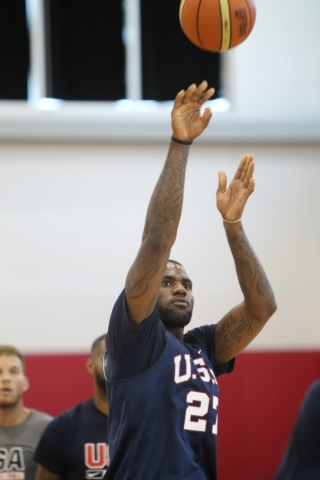 USA Basketball Men's National Team player Lebron James takes a shot during a mini-camp practice at the Mendenhall Center on the UNLV campus in Las Vegas Wednesday, August 12, 2015. (Erik Verduzc ...