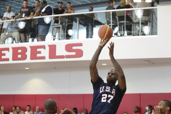 USA Basketball Men's National Team player Lebron James takes a shot during a mini-camp practice at the Mendenhall Center on the UNLV campus in Las Vegas Wednesday, August 12, 2015. ERIK VERD ...