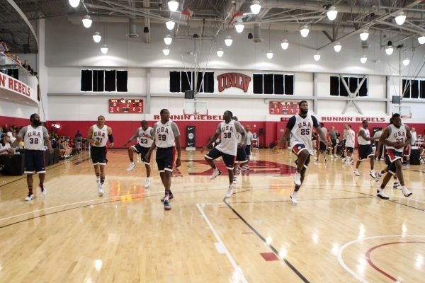USA Basketball Men's National Team players stretch during a mini-camp practice at the Mendenhall Center on the UNLV campus in Las Vegas Tuesday, August 11, 2015. ERIK VERDUZCO/LAS VEGAS REVIEW-J ...