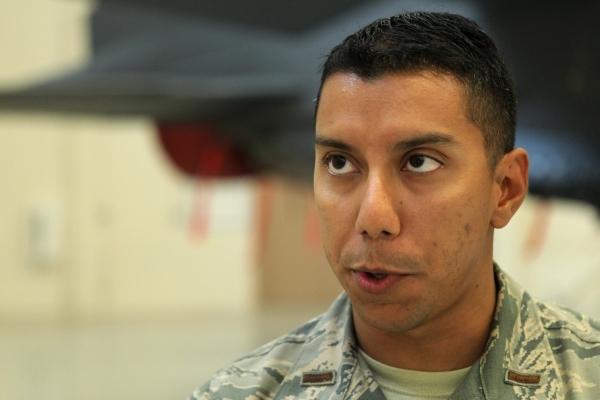 U.S. Air Force 2nd Lt. Daniel Vargas is interviewed following a leadership seminar for about 400 Airmen at Nellis Air Force Base in Las Vegas Thursday, Aug. 13, 2015. ERIK VERDUZCO/LAS VEGAS REVIE ...