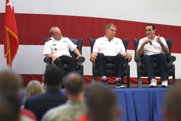 U.S. Army Gen. Martin Dempsey, from left, chairman of the Joint Chiefs of Staff, USA National Basketball Team's head coach Mike Krzyzewski, and managing director Jerry Colangelo, participate ...