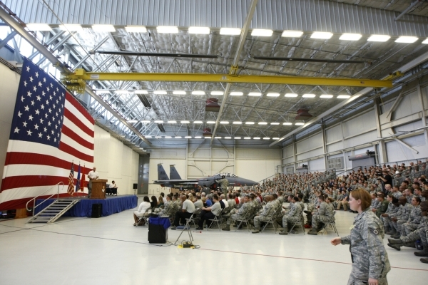 Nellis Air Force Base Airmen listen during a leadership seminar with guests that included U.S. Army Gen. Martin Dempsey, chairman of the Joint Chiefs of Staff, USA National Basketball Team's ...