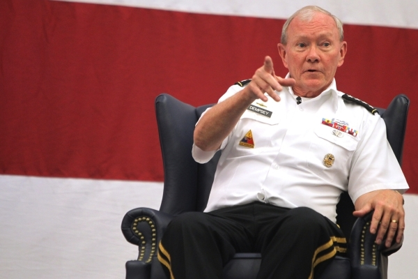 U.S. Army Gen. Martin Dempsey, chairman of the Joint Chiefs of Staff, speaks during a leadership seminar for about 400 Airmen at Nellis Air Force Base in Las Vegas Thursday, Aug. 13, 2015. ERIK VE ...