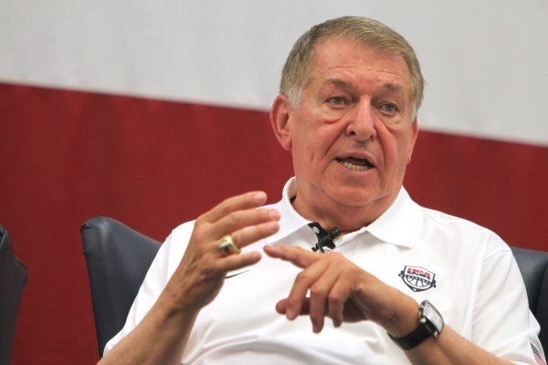 USA National Basketball Team's managing director Jerry Colangelo speaks during a leadership seminar for about 400 Airmen at Nellis Air Force Base in Las Vegas Thursday, Aug. 13, 2015. ERIK V ...
