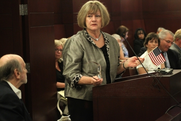 Sandy Lewis speaks during public comment in the second meeting of the Nevada Supreme Court Panel on Guardianship at the Regional Justice Center in Las Vegas Monday, Aug. 17, 2015. ERIK VERDUZCO/LA ...