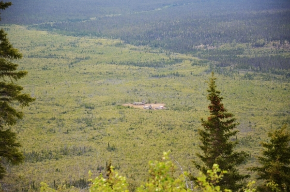 A view from Burnt Mountain, Alaska, shows Site 4, as members of the Air Force Technical Applications Center relocate 10 radioisotope thermoelectric generators from all five sites 60 miles north of ...