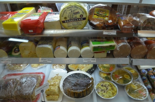Cheeses, cakes and more line the display case at Tina's Gourmet Sausage House, 2101 S. Decatur Blvd. (Ginger Meurer/Special to View)