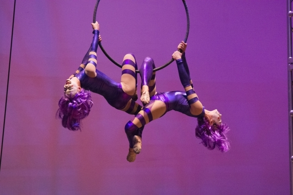 Students perform a trapeze act during the Social CirKISH Student Showcase on Saturday at UNLV's Ham Hall. (JASON OGULNIK/LAS VEGAS REVIEW-JOURNAL)