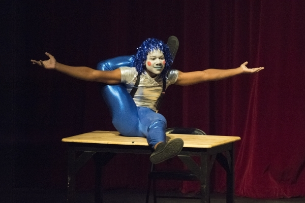 A student performs on a platform during the Social CirKISH Student Showcase on Saturday at UNLV's Ham Hall. JASON OGULNIK/LAS VEGAS REVIEW-JOURNAL