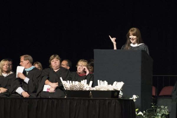 Author Laura McBride gives the keynote speech during the Clark County School District's summer commencement ceremony at Orleans Arena in Las Vegas, Tuesday, Aug. 18, 2015. (Jason Ogulnik/Las ...
