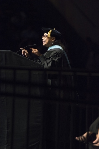 Dr. Linda Young speaks during the Clark County School District's summer commencement ceremony at Orleans Arena in Las Vegas, Tuesday, Aug. 18, 2015. (Jason Ogulnik/Las Vegas Review-Journal)