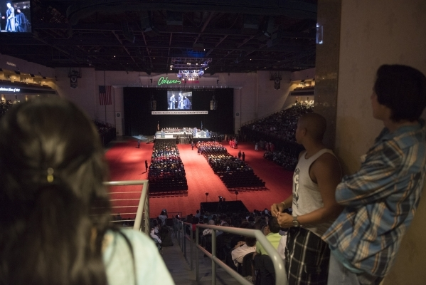 The graduates and audience is shown during the Clark County School District's summer commencement ceremony at Orleans Arena in Las Vegas, Tuesday, Aug. 18, 2015. (Jason Ogulnik/Las Vegas Rev ...