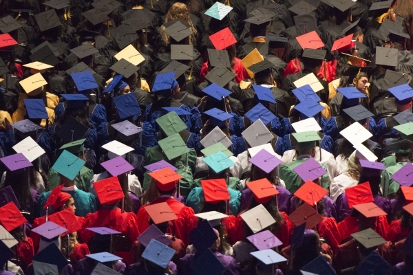 Newly graduated students are shown during the Clark County School District's summer commencement ceremony at Orleans Arena in Las Vegas, Tuesday, Aug. 18, 2015. (Jason Ogulnik/Las Vegas Revi ...