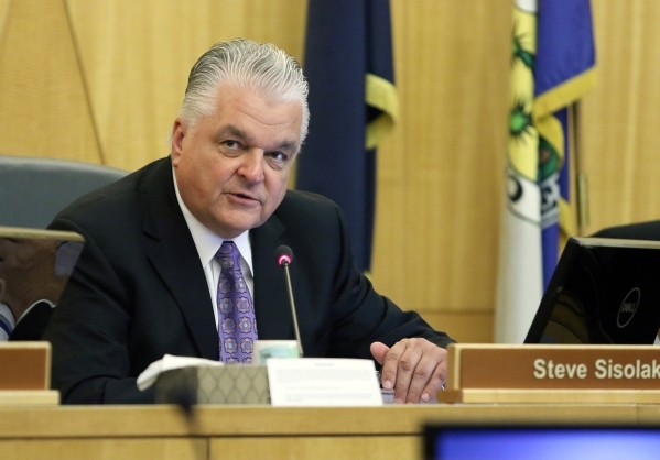 Chairman Steve Sisolak speaks during a meeting of the Clark County Commission on Tuesday. A public hearing on the More Cops sales tax increase was scheduled Sept. 1. RONDA CHURCHILL/LAS VEGAS REVI ...