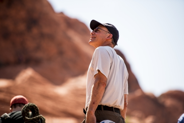Steve Ellis, Bureau of Land Management deputy operations director, watches at rock climbers at Red Rock Canyon in Las Vegas on Tuesday, Aug. 18, 2015. (Joshua Dahl/Las Vegas Review-Journal)
