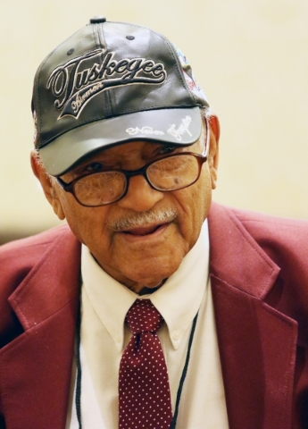 James Bynum, of the San Antonio Tuskegee Airmen Inc. chapter, speaks about his time in the Army Air Corps during the TAI 44th national convention at JW Marriott Wednesday, Aug. 19, 2015, in Las Ve ...