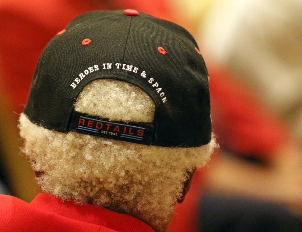 An attendee wears a cap during the Tuskegee Airmen Inc. 44th national convention at JW Marriott Wednesday, Aug. 19, 2015, in Las Vegas. McGee was part of the original Tuskegee Airmen, who were a g ...