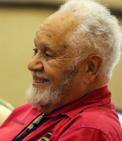 Leo Gray laughs while speaking about his time in the Army Air Corps during the Tuskegee Airmen Inc. 44th national convention at JW Marriott Wednesday, Aug. 19, 2015, in Las Vegas. Gray was part of ...