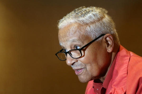 Ret. Col. Charles McGee, 95, speaks about his time in the Army Air Corps during the Tuskegee Airmen Inc. 44th national convention at JW Marriott Wednesday, Aug. 19, 2015, in Las Vegas. McGee was p ...