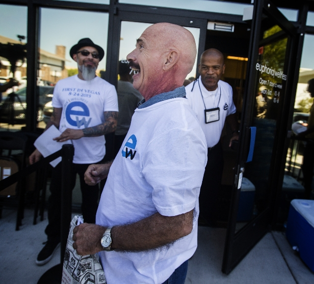 Stroke victim Bill Kilbride comes out with his prescription of medical marijuana at  Euphoria Wellness, 7780 South Jones Boulevard on Monday, Aug, 24, 2015. He was the first person to get medicati ...