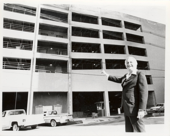 Mel Exber is shown at the Las Vegas Club parking garage after an expansion at the hotel in this undated file photo. (Las Vegas Review-Journal)