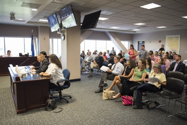 Concerned parents voice their opinion on Nevada's upcoming new Education Savings Account during a pubic workshop held at the State Treasurer's office inside the Grant Sawyer state offi ...