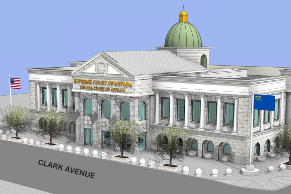 A rendering of plans for a Nevada Supreme Court building in Las Vegas shows a dome and a stonework front. (Courtesy)