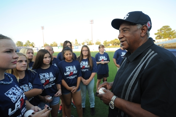 Former Negro League baseball player Bose Biddle speaks to a group of softball players before the start of the Las Vegas 51s game against the Omaha Storm Chasers at Cashman Field on Thursday. Josh  ...