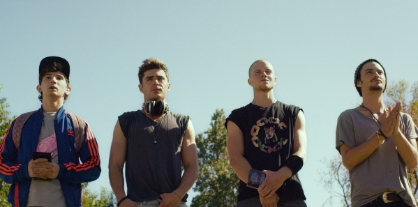 """From left, Alex Shaffer as Squirrel, Zac Efron as Cole, Jonny Weston as Mason and Shiloh Fernandez as Ollie star in """"We Are Your Friends."""" (Courtesy Warner Bros.)"""