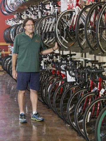 Owner Randy McGhie, poses for a photo at McGhie's Bike Shop, on 4035 S. Fort Apache Rd Las Vegas, Friday, August 24, 2015. Donavon Lockett/Las Vegas Review-Journal