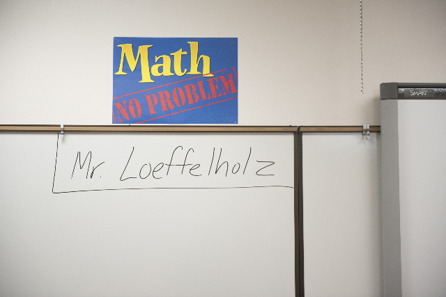 Algebra 2 teacher Michael Loeffelholz's name is shown on the dry-erase board before his first class at Cimarron-Memorial High School during Clark County School District's first day of  ...