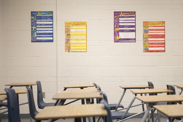 Algebra 2 teacher, Michael Loeffelholz's room is shown prior to his first class at Cimarron-Memorial High School during Clark County School District's first day of classes in Las Vegas ...