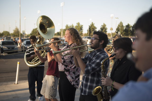 The school band plays for arriving students at Cimarron-Memorial High School during Clark County School District's first day of classes in Las Vegas, Monday, Aug. 24, 2015. (Jason Ogulnik/La ...