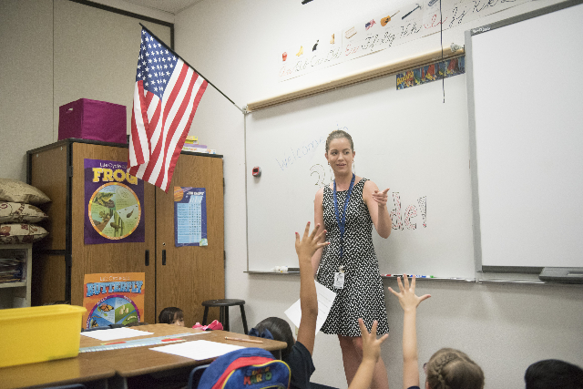 3rd grade teacher, Ashley Lucas introduces herself to her class at Cortez Elementary  School during