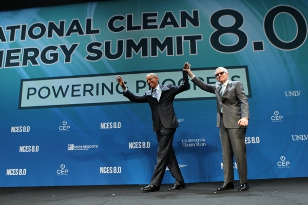 President Barack Obama, left, and U.S. Sen. Harry Reid, D-Nev., wave at the crowd after addressing the crowd at the National Energy Summit 8.0 at Mandalay Bay casino-hotel in Las Vegas Monday, Aug ...