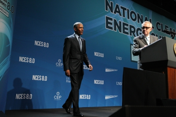 U.S. Sen. Harry Reid, D-Nev., right, introduces President Barack Obama during the National Energy Summit 8.0 at Mandalay Bay casino-hotel in Las Vegas Monday, Aug. 24, 2015. ERIK VERDUZCO/LAS VEGA ...