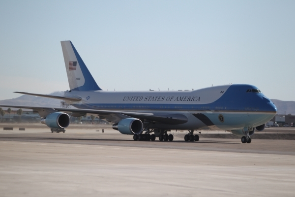 Air Force One taxis on the tarmac at McCarran International Airport in Las Vegas Monday, Aug. 24, 2015, as President Barack Obama arrives for the Clean Energy Summit. Erik Verduzco/Las Vegas Revie ...