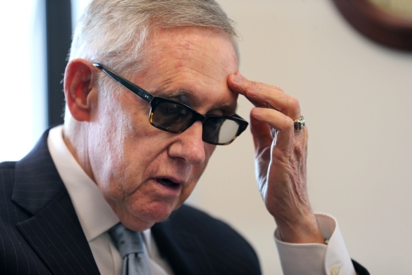 U.S. Sen. Harry Reid, D-Nev., answers media questions in his office in Reno earlier this month. Reid says NV Energy needs to embrace the new solar technology. Cathleen Allison/Las Vegas Review-Journal