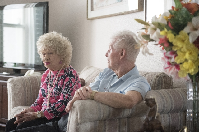 "William Kenneth ""Ken"" Boswell, right, and Ruth Geraldine ""Jerry"" Boswell reminisce about their life together at their Henderson home on Saturday, Aug. 29, 2015. The couple&lsqu ..."