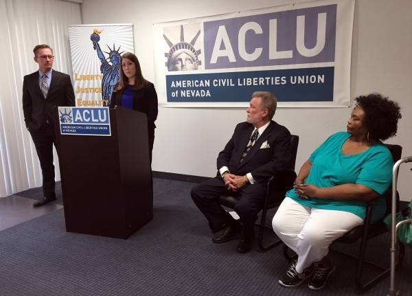 Amy Rose, legal director for the American Civil Liberties Union of Nevada, announces a lawsuit Thursday, Aug, 27, 2015, the organization filed to stop the state's new school choice program.  ...