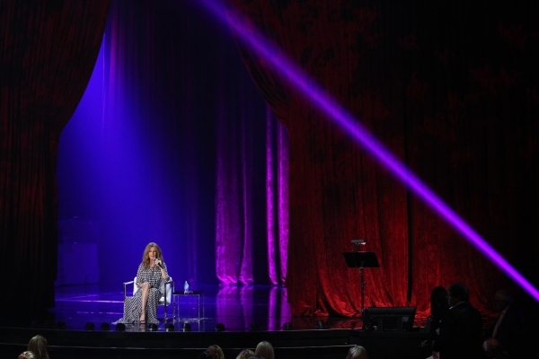Celine Dion answers questions during a press conference before her first performance in more than a year at the Colosseum at Caesars Palace hotel-casino in Las Vegas on Thursday, Aug. 27, 2015. Ch ...