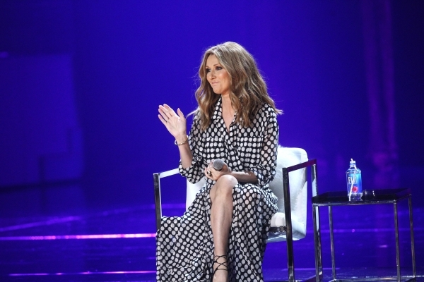 Celine Dion acknowledges the news media in attendance for a press conference before her first performance in more than a year at the Colosseum at Caesars Palace hotel-casino in Las Vegas on Thursd ...