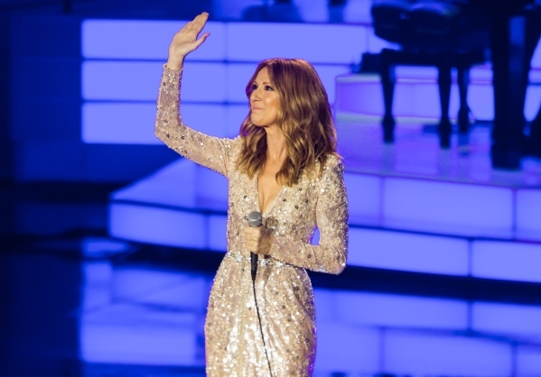 Celine Dion acknowledges the crowd at the Colosseum at Caesars Palace hotel-casino, following a year-long hiatus, in Las Vegas on Thursday, Aug. 27, 2015. Chase Stevens/Las Vegas Review-Journal Follow
