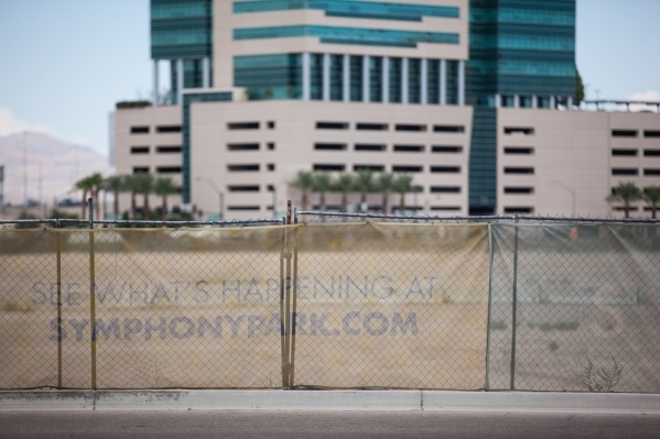Fenced off undeveloped land that is part of Symphony Park is shown, with Molasky Corporate Center in the background, in Las Vegas on Friday, Aug. 28, 2015. Chase Stevens/Las Vegas Review-Journal F ...