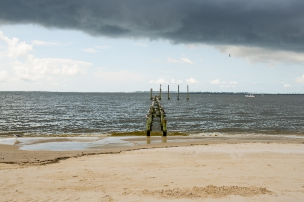 Birds sit on a damaged pier on Front Beach in Ocean Springs, Miss. on Saturday, Aug. 15, 2015. (Joshua Dahl/Las Vegas Review-Journal)