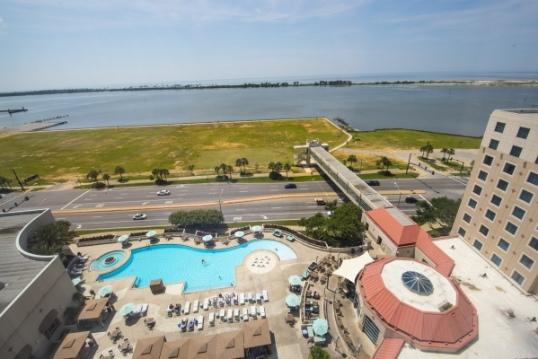 The pool area of Harrah's Gulf Coast in Biloxi, Miss. is shown overlooking the Gulf of Mexico on Wednesday, Aug. 12, 2015. (Joshua Dahl/Las Vegas Review-Journal)